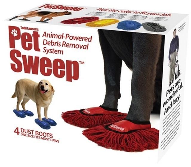 coisas bizarras - caixa de sandálias/vassoura para cachorro.