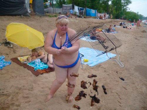 mulher com grelha