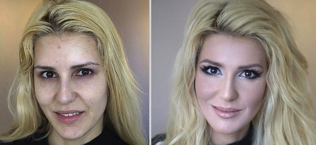 10 Espantosas imagens de mulheres antes e depois de maquiadas