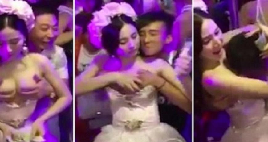 Convidados pagam para tocar os seios da noiva em uma festa de ...