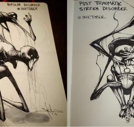 Os desenhos macabros de Shawn Cross que retratam doenças mentais