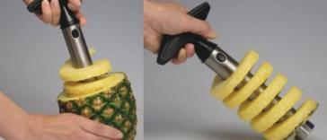 Cortador de abacaxi no estilo 'saca-rolha'